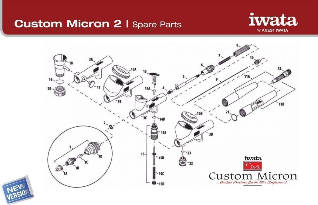 C Parts Iwata for Airbrush Custom Micron cm CP Sb B